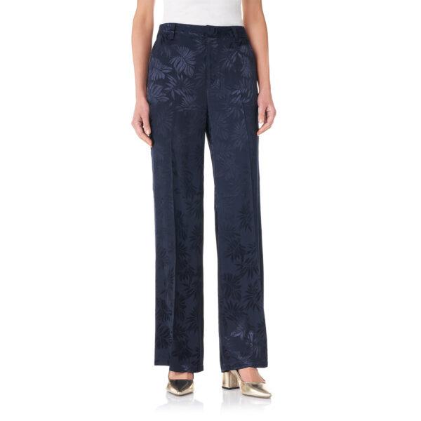 Pantalone Wide leg a fantasia foliage Blu - Nicla