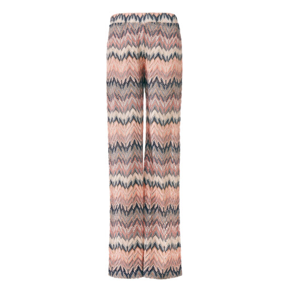 Pantalone Wide leg a maglia raschel Rosa - vista frontale | Nicla