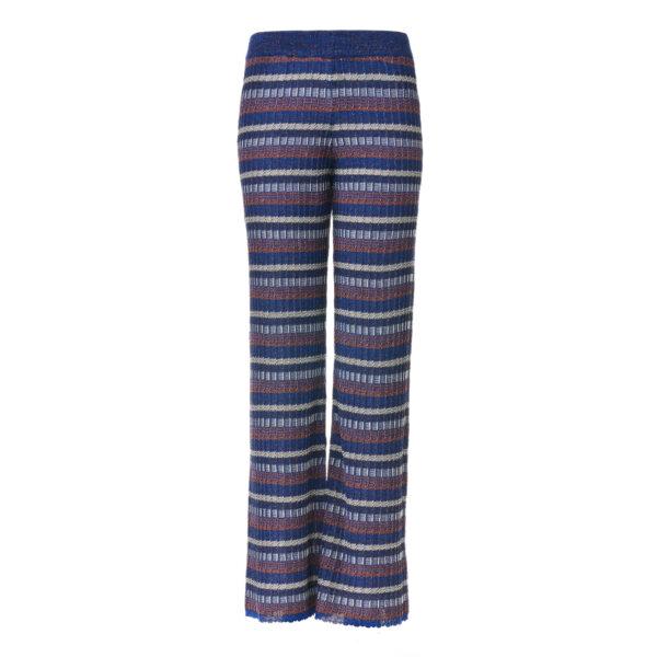 Pantalone Wide leg in maglia lurex Blu - vista frontale | Nicla