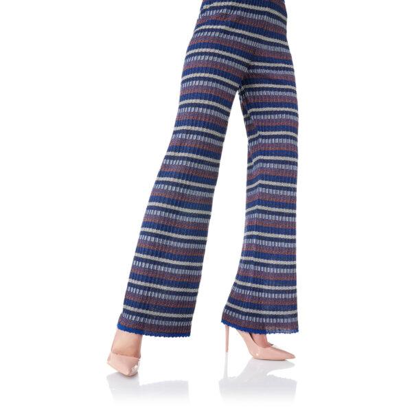 Pantalone Wide leg in maglia lurex Blu - Nicla