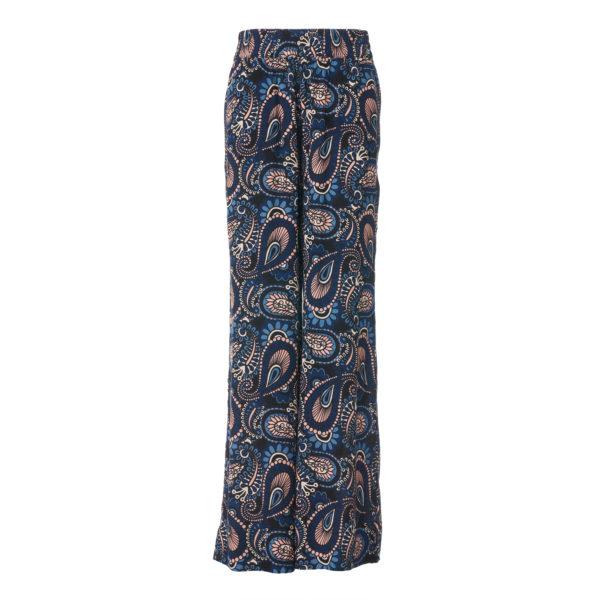 Pantalone Palazzo a stampa cachemire Blu - vista frontale   Nicla