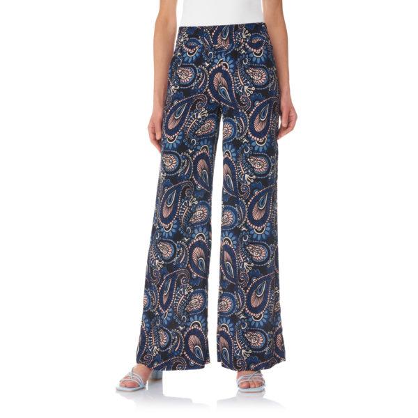 Pantalone Palazzo a stampa cachemire Blu - Nicla
