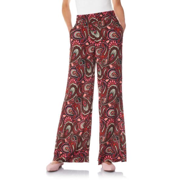 Pantalone Palazzo a stampa cachemire Rosa - Nicla