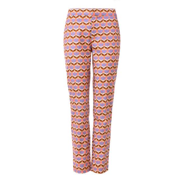 Pantalone Straight a fantasia tulipani Multicolor - vista frontale | Nicla