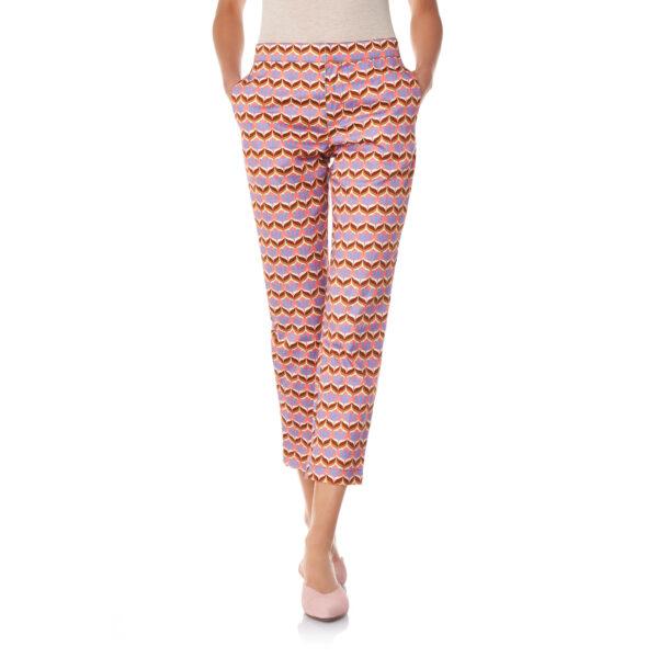 Pantalone Straight a fantasia tulipani Multicolor - Nicla