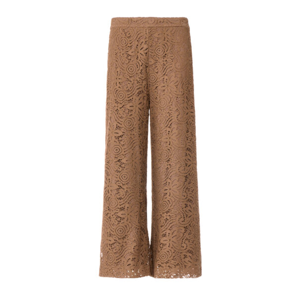 Pantalone Cropped in pizzo floreale Marrone - vista frontale | Nicla