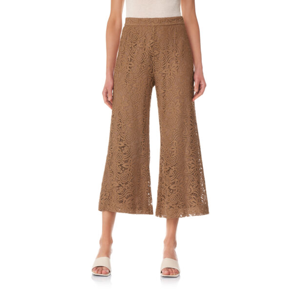 Pantalone Cropped in pizzo floreale Marrone - Nicla