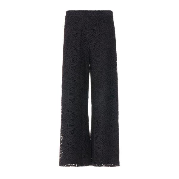Pantalone Cropped in pizzo floreale Nero - vista frontale | Nicla