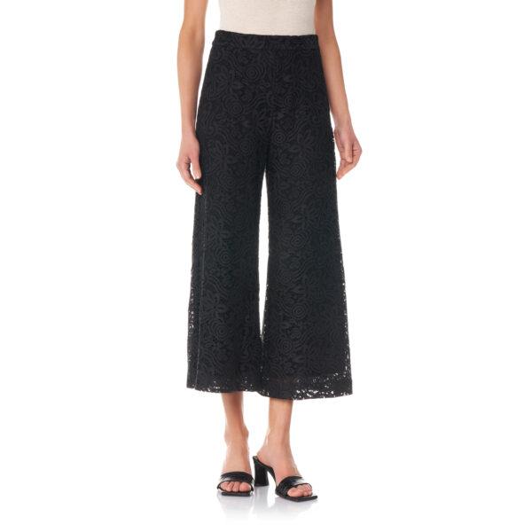 Pantalone Cropped in pizzo floreale Nero - Nicla
