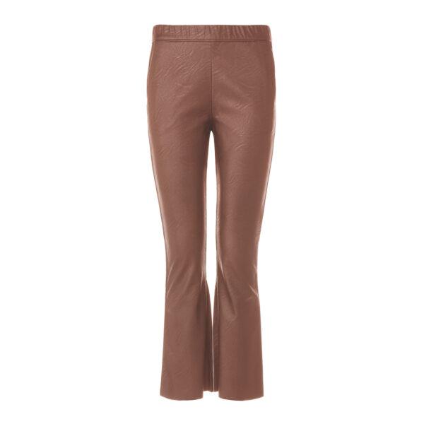 Pantalone Flare effetto pelle Marrone - vista frontale   Nicla