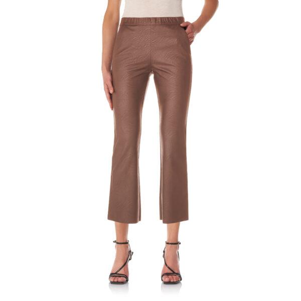 Pantalone Flare effetto pelle Marrone - Nicla
