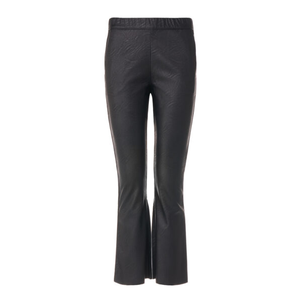 Pantalone Flare effetto pelle Nero - vista frontale   Nicla
