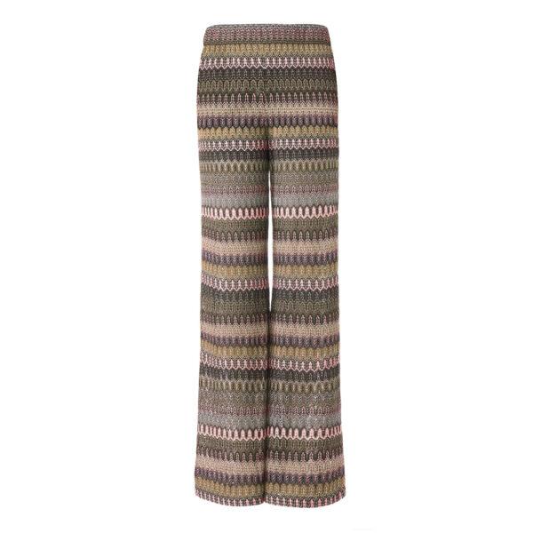 Pantalone Wide leg in maglia raschel Multicolor - vista frontale | Nicla