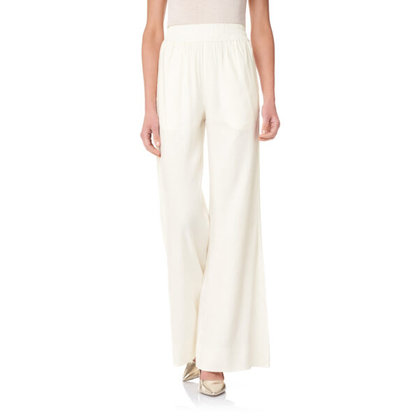 Pantalone Palazzo in misto lino Bianco - Nicla