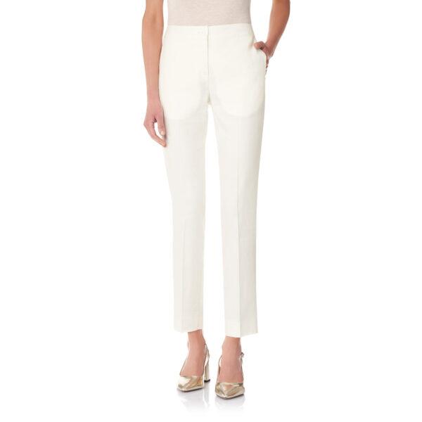 Pantalone Straight in misto lino Bianco - Nicla