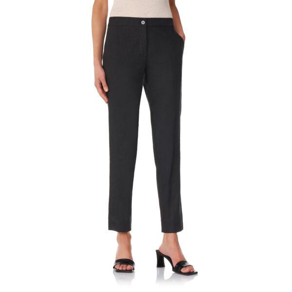 Pantalone Straight in misto lino Nero - Nicla