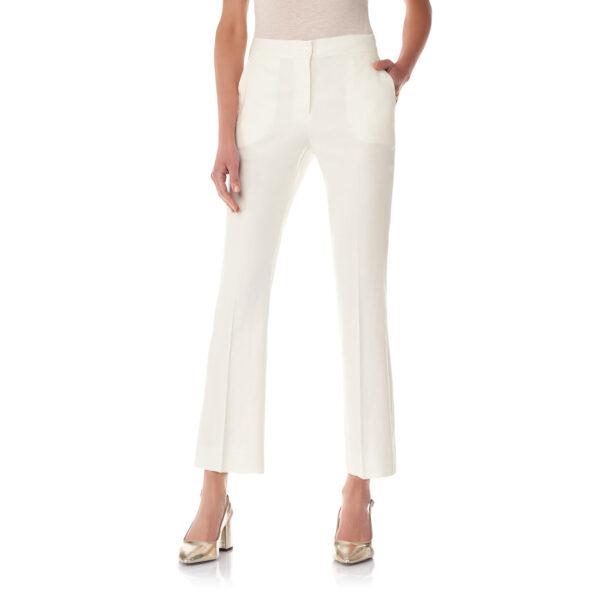 Pantalone Flare in misto lino Bianco - Nicla