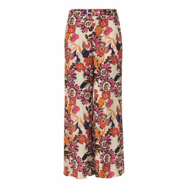 Pantalone Cropped a stampa Macrofloral Multicolor - vista frontale | Nicla