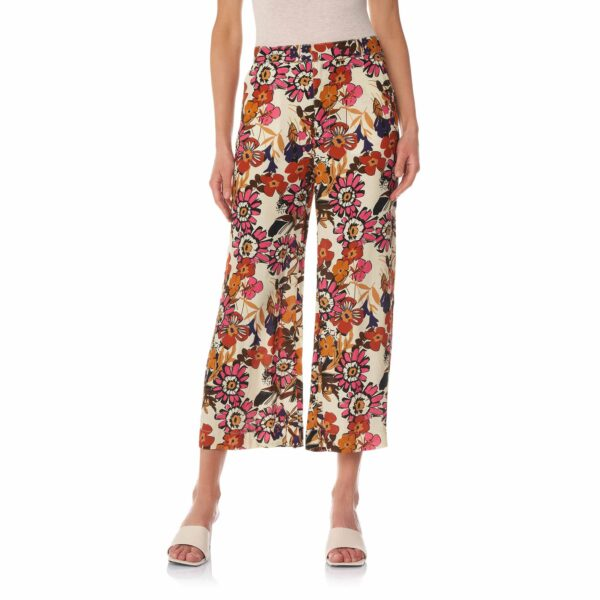 Pantalone Cropped a stampa Macrofloral Multicolor - Nicla