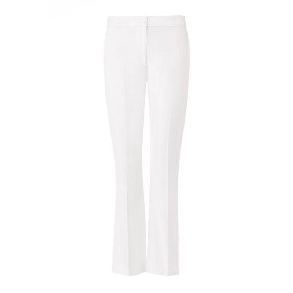 Pantalone Flare in raso di cotone Bianco - vista frontale | Nicla