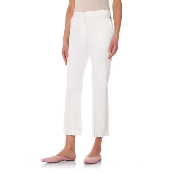 Pantalone Flare in raso di cotone Bianco - Nicla