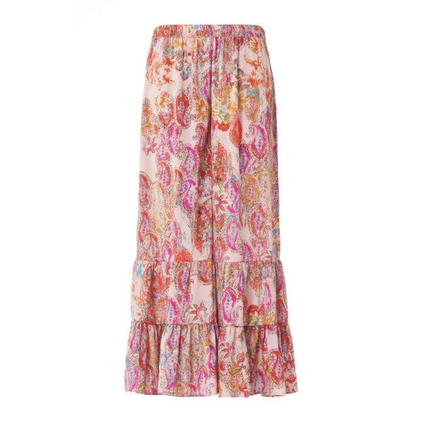 Pantalone con balze a stampa exotic floral Multicolor - vista frontale | Nicla