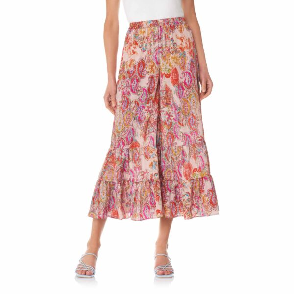Pantalone con balze a stampa exotic floral Multicolor - Nicla