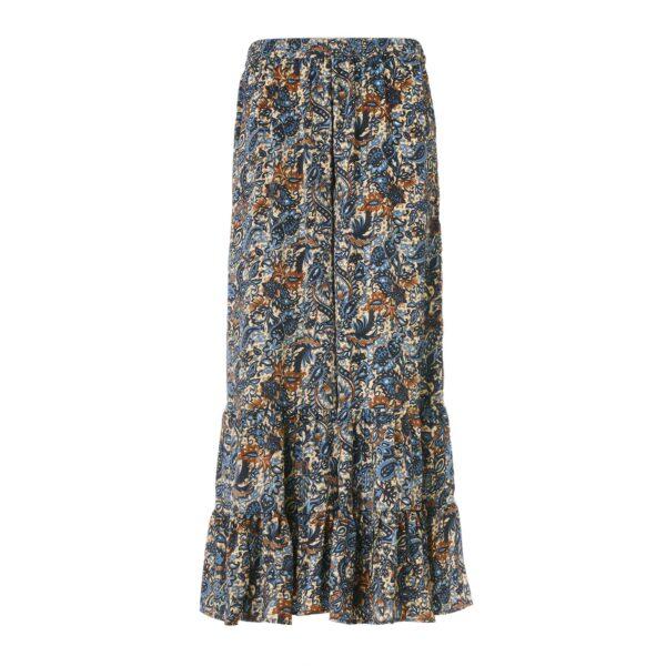 Pantalone con balze a stampa floral cachemire Multicolor - vista frontale | Nicla