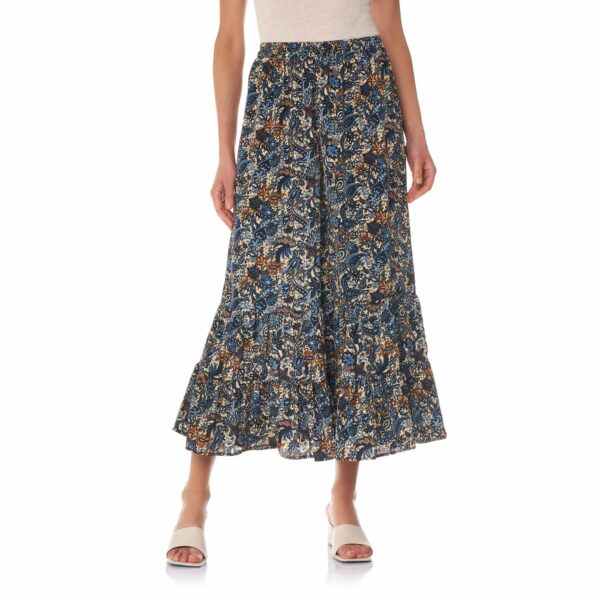 Pantalone con balze a stampa floral cachemire Multicolor - Nicla
