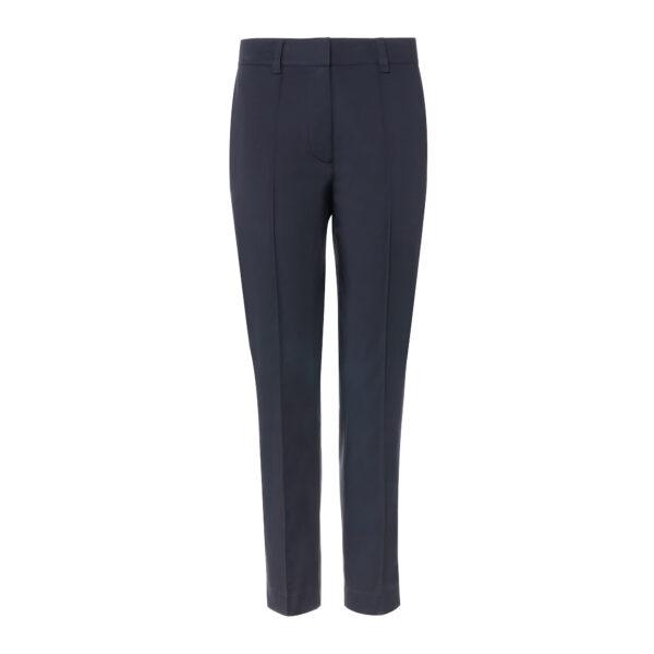 Pantalone Straight in raso di cotone Blu - vista frontale | Nicla