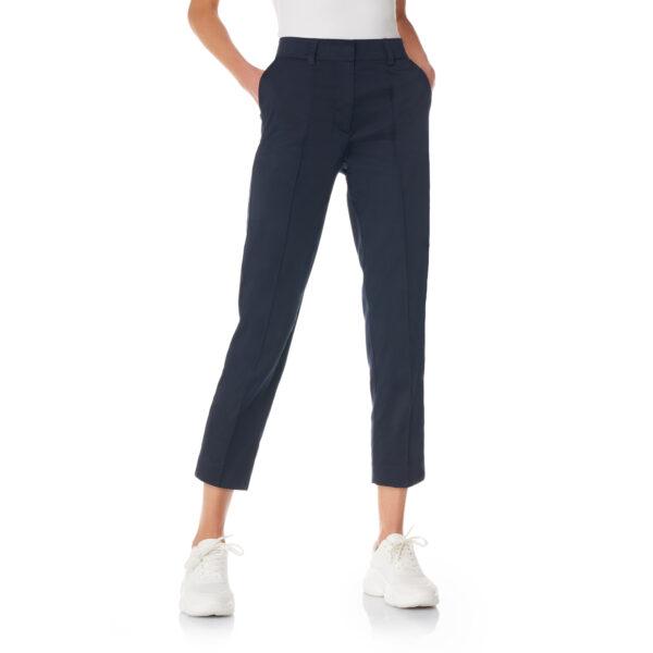 Pantalone Straight in raso di cotone Blu - Nicla