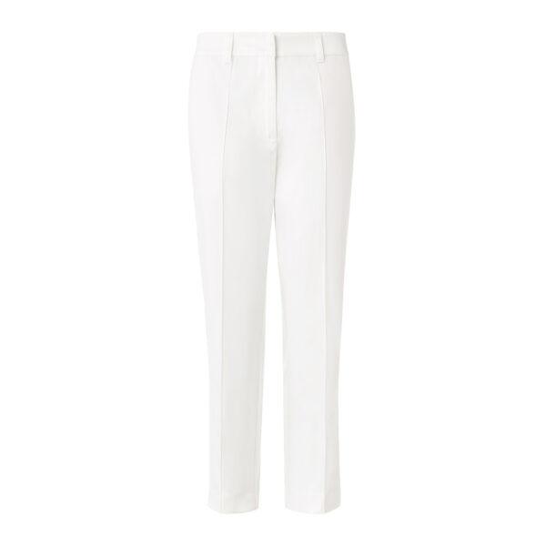 Pantalone Straight in raso di cotone Bianco - vista frontale | Nicla