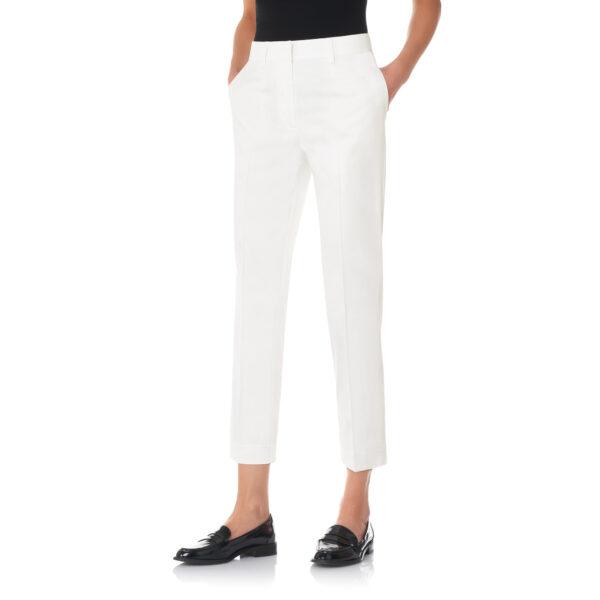 Pantalone Straight in raso di cotone Bianco - Nicla