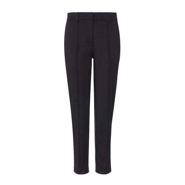 Pantalone Straight in raso di cotone Nero - vista frontale | Nicla