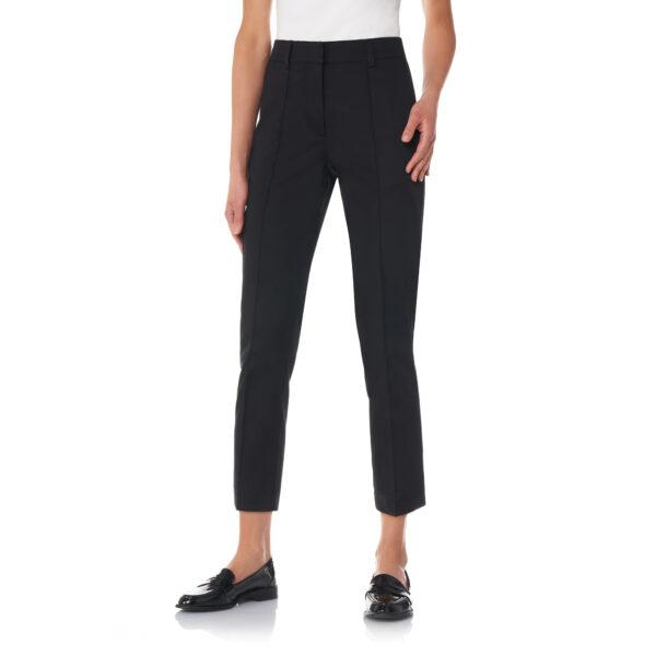 Pantalone Straight in raso di cotone Nero - Nicla