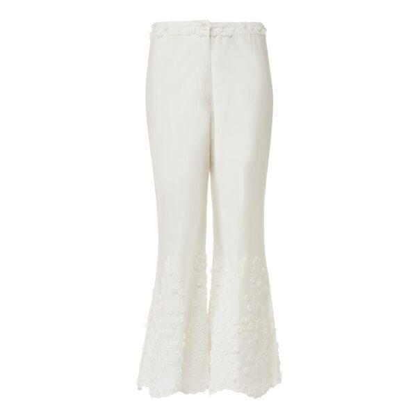 Pantalone Cropped con ricamo Bianco - vista frontale | Nicla