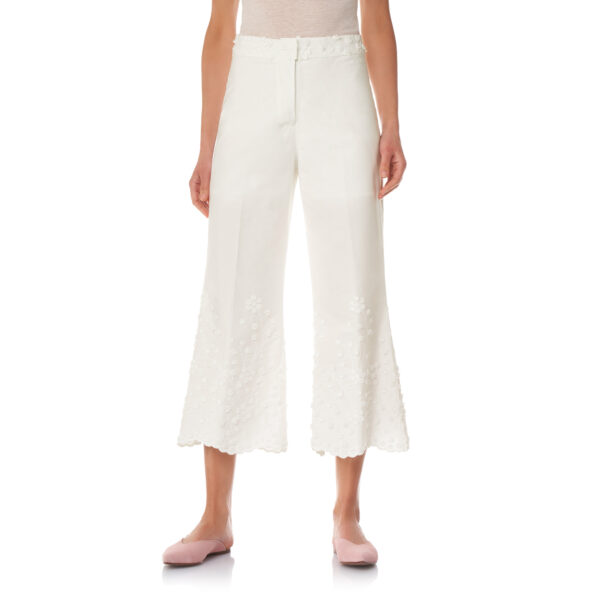 Pantalone Cropped con ricamo Bianco - Nicla