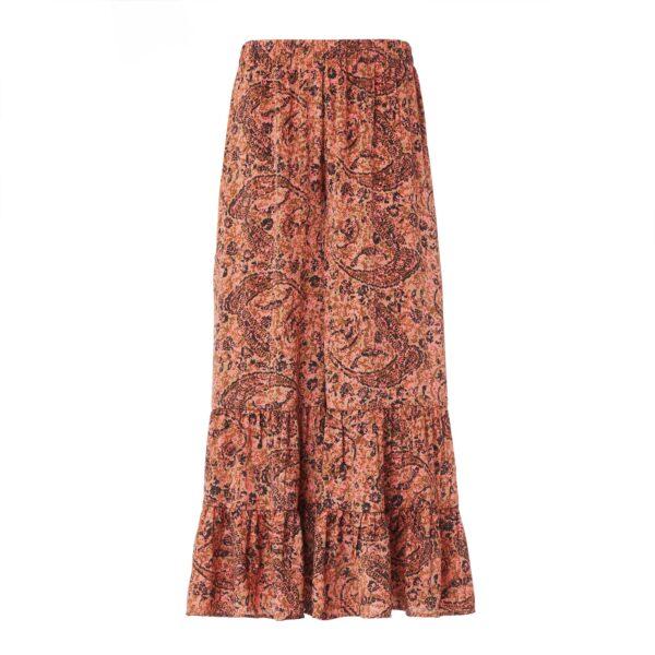 Pantalone con balze a stampa arabesque Multicolor - vista frontale | Nicla