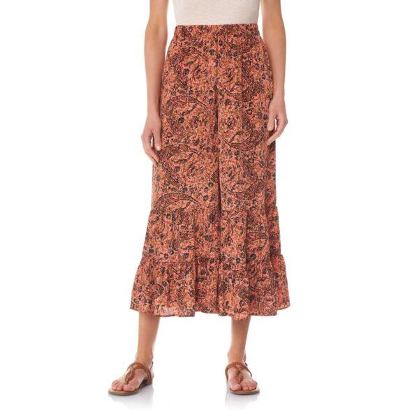 Pantalone con balze a stampa arabesque Multicolor - Nicla
