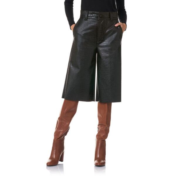 Pantalone Bermuda effetto pelle cocco Nero - Nicla