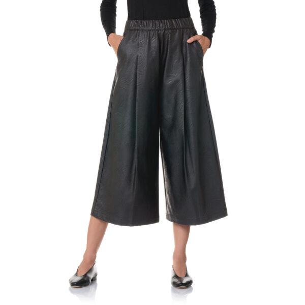 Pantalone Culotte effetto pelle Nero - Nicla