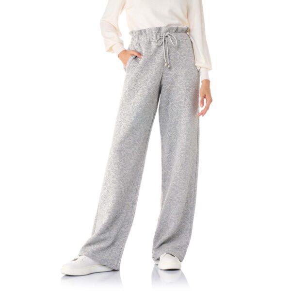 Pantalone Paperbag Wide leg Grigio - Nicla