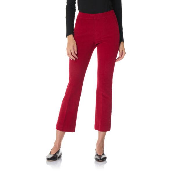 Pantalone Flare in velluto a costine Rosso - Nicla