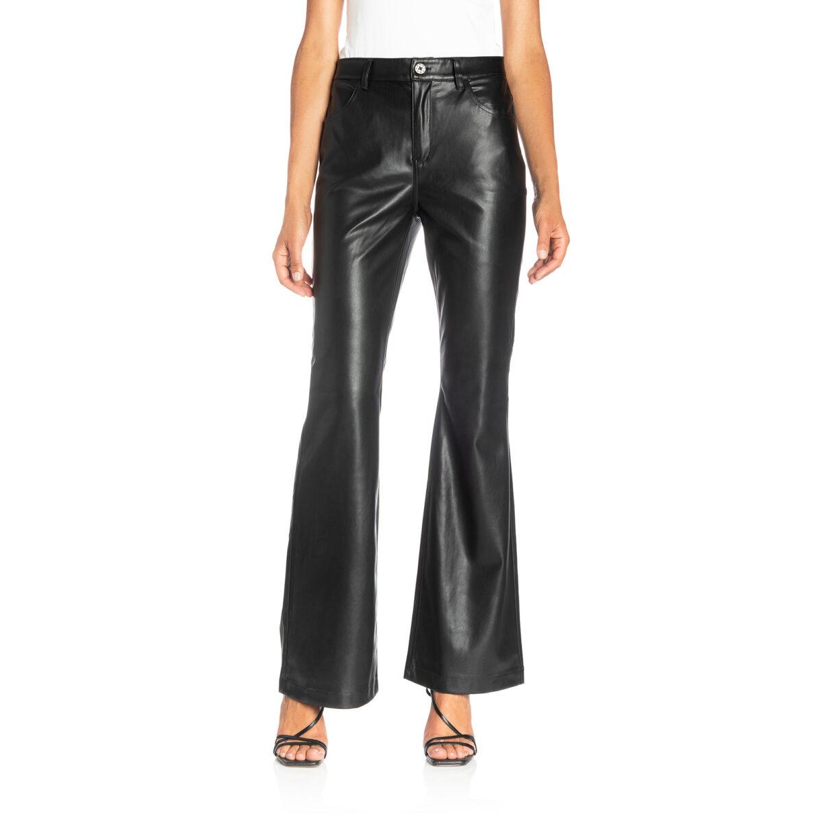 Pants Bootcut effetto pelle Nero - Nicla