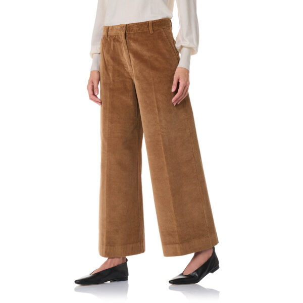Pant Cropped velluto a coste Marrone - Nicla