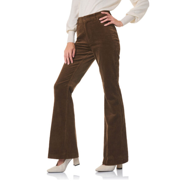 Pantalone Bootcut in velluto a costa larga Marrone - Nicla