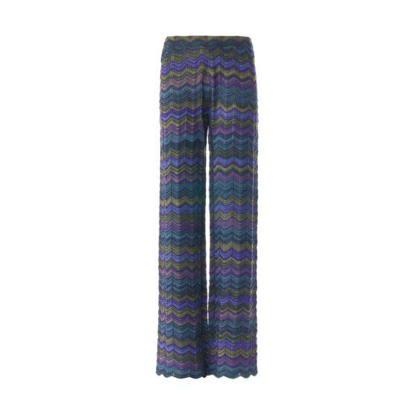 Pant Wide Leg a maglia Viola - vista frontale | Nicla